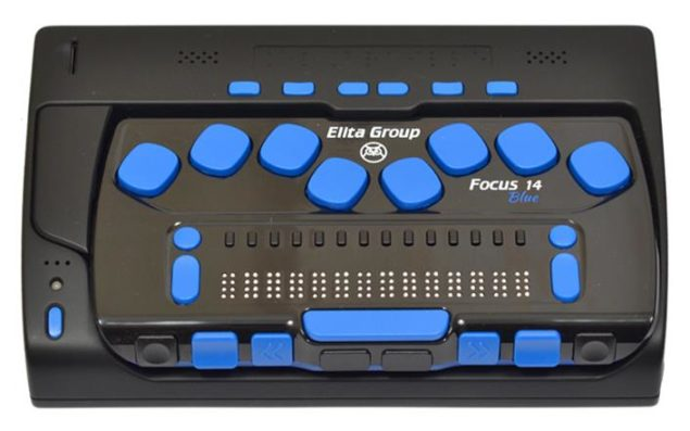 Laptop asistiv ElBraille cu un ecran Braille Focus 14 blue