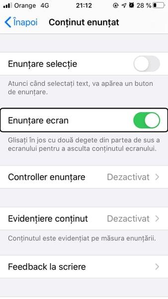 """Screenshot cu ecranul în care arată opţiunea """"enunţare ecran"""" activată"""